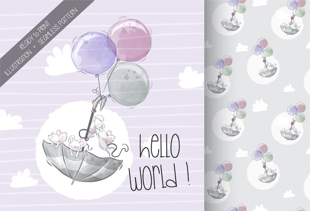 Cute baby mouse flying with umbrella seamless pattern