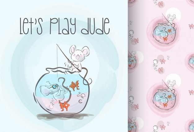 Cute baby mouse happy play seamless pattern