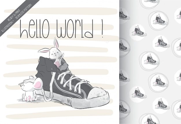 Cute baby mouse on shoes with seamless pattern
