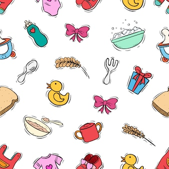 Cute baby newborn seamless pattern with colored doodle style