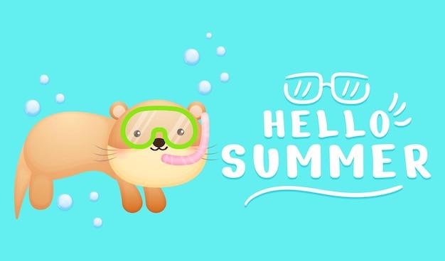 여름 인사말 배너와 함께 수영 고글을 착용하는 귀여운 아기 수달