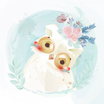 Cute baby owl hand drawn in sweet watercolor style.