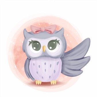 Cute baby owl rise the wing