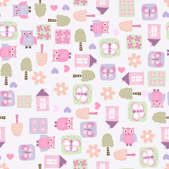 Cute baby owls and icons seamless pattern vector