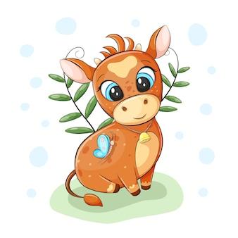 Милый бык с колокольчиком сидит на траве