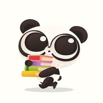 Cute baby panda back to school
