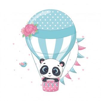 Cute baby panda bear on a hot air balloon.   illustration