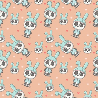 Cute baby panda cartoon seamless pattern