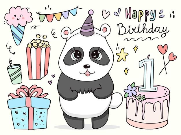 Cute baby panda character set birthday cartoon