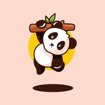 Cute baby panda clipart isolated