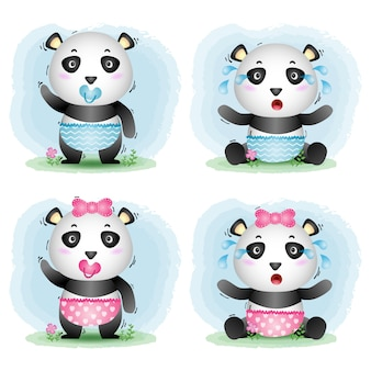 Cute baby panda collection in the children's style