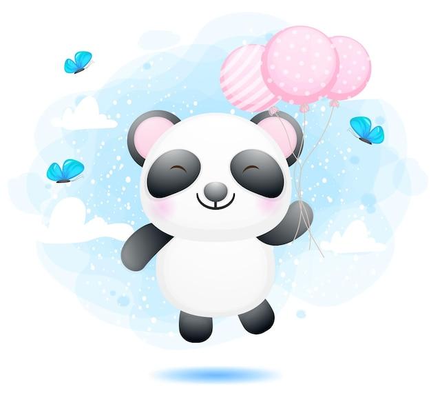 풍선 만화 캐릭터와 함께 비행하는 귀여운 아기 팬더