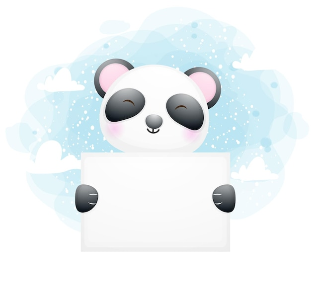 Cute baby panda holding white board