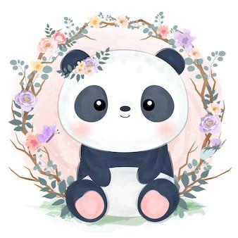 수채화 효과에 귀여운 아기 팬더 그림