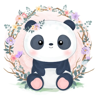 Cute baby panda illustration in watercolor effect