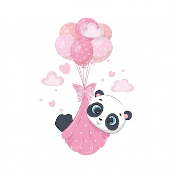 Милая панда в подгузниках на воздушных шарах