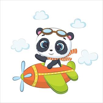 귀여운 아기 팬더가 비행기를 타고 날아가고 있습니다. 만화 벡터 일러스트 레이 션.