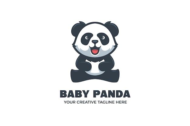 귀여운 아기 팬더 마스코트 캐릭터 로고 템플릿