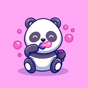Cute baby panda playing soap bubbles cartoon vector icon illustration. animal nature icon concept isolated premium vector. flat cartoon style