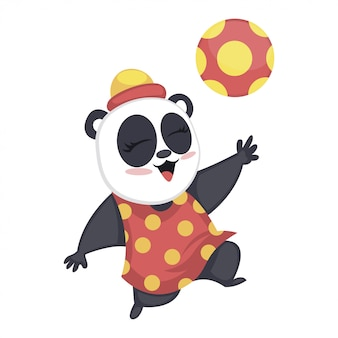 Cute baby panda playing with football