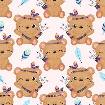 Cute baby panda in seamless pattern