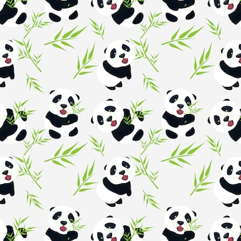Cute baby panda with bamboo leaves seamless pattern design