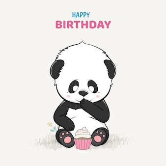 Cute baby panda with a cake cartoon hand drawn vector