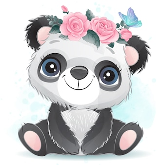 Cute baby panda with floral