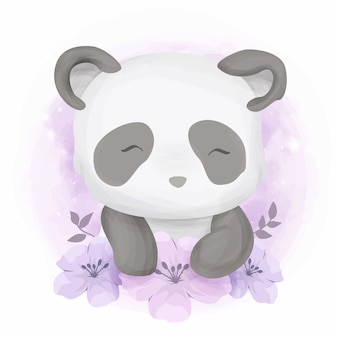 Cute baby panda with flowers