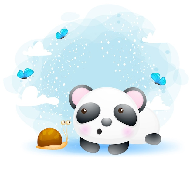 友達の漫画のキャラクターとかわいい赤ちゃんパンダ