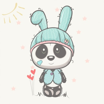 Cute baby panda with rabbit hat