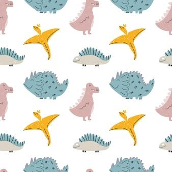 공룡, 파충류, 도마뱀이 있는 귀여운 아기 패턴입니다. 완벽 한 배경입니다. 스칸디나비아 스타일의 세련된 장식. 직물, 아동용 직물에 끝없는 인쇄. 벡터 일러스트 레이 션, 손으로 그린
