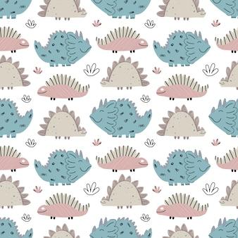 공룡, 파충류가 있는 귀여운 아기 패턴입니다. 완벽 한 배경입니다. 스칸디나비아 스타일의 세련된 장식. 직물, 아동용 직물에 끝없는 인쇄. 벡터 일러스트 레이 션, 손으로 그린