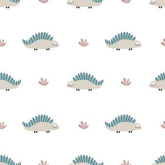 공룡과 함께 귀여운 아기 패턴입니다. 완벽 한 배경입니다. 스칸디나비아 스타일의 장식. 직물, 아동용 직물, 디지털 종이에 끝없는 인쇄. 벡터 일러스트 레이 션, 손으로 그린