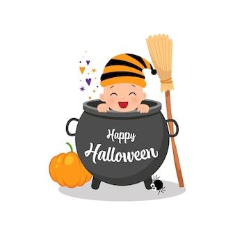 Cute baby peeking from inside a cauldron happy halloween flat vector cartoon design