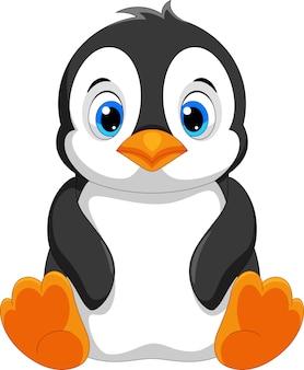 Мультфильм милый ребенок пингвин, изолированные на белом фоне