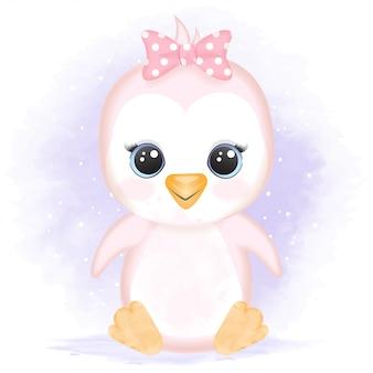 Милый ребенок пингвин рисованной иллюстрации шаржа