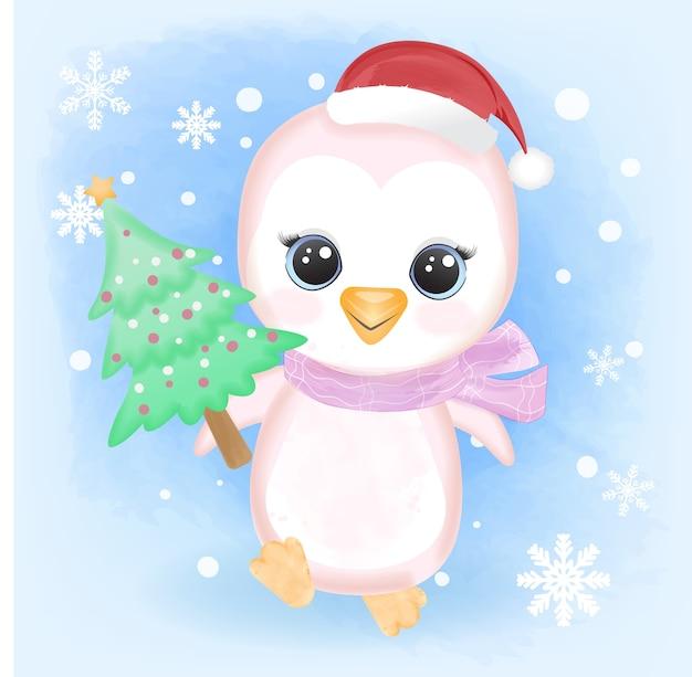 Милый ребенок-пингвин держит сосну и снежинку