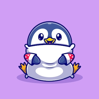かわいい赤ちゃんペンギンハグ枕漫画ベクトルアイコンイラスト。動物の性質のアイコンの概念は、プレミアムベクトルを分離しました。フラット漫画スタイル