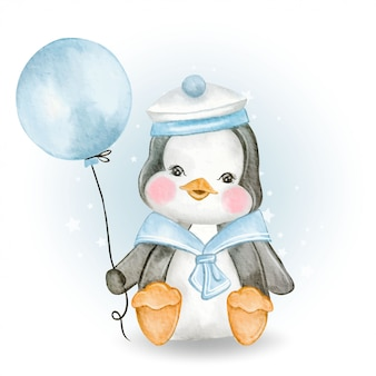 Cute baby penguin with marine uniform holding balloon