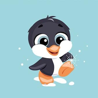 Милый пингвин ребенка со снежинкой.