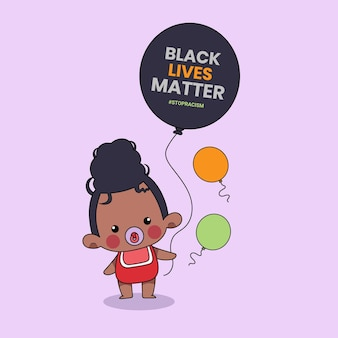 Cute baby  people holding a balloon with the words black lives matter written on it. black history month illustration