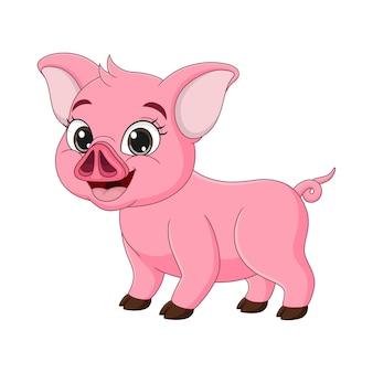 흰색 바탕에 귀여운 아기 돼지 만화