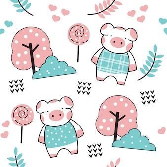 Cute baby pig cartoon pattern