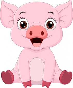 Cute baby pig cartoon sitting