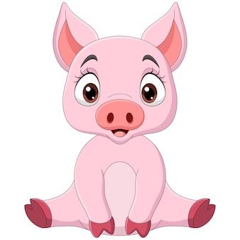 座っているかわいい赤ちゃん豚漫画