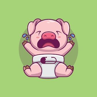 귀여운 아기 돼지 우는 만화 일러스트 레이션