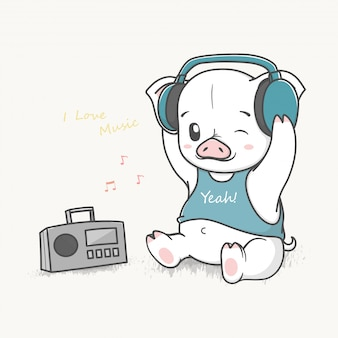 Cute baby pig listen music