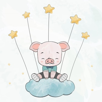 Cute baby pig sit on the cloud with stars water color cartoon hand drawn