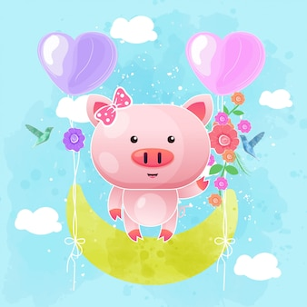 Cute baby pig swing on the moon